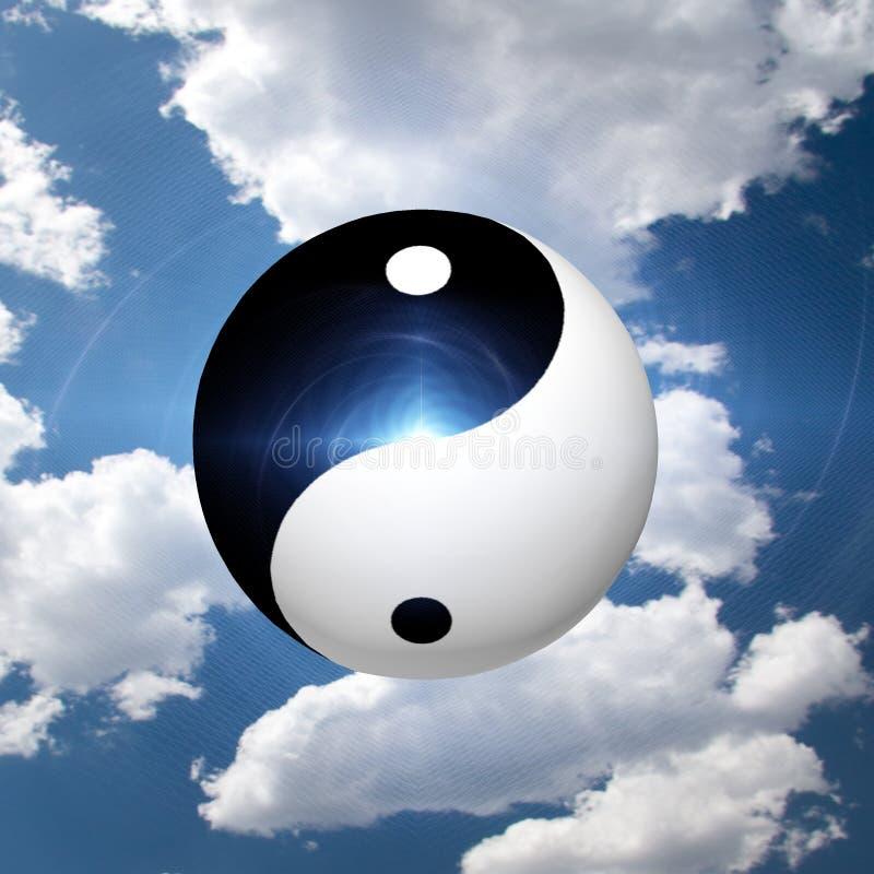 Yin Yang Symbol. In Clouds stock illustration