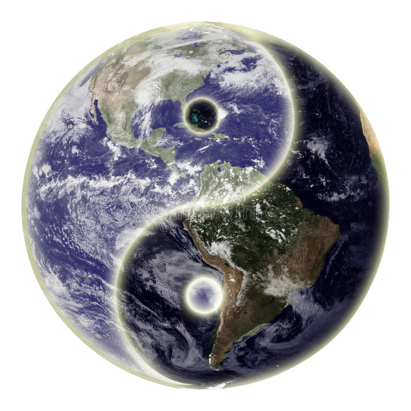 Yin and yang symbol and earth stock photo