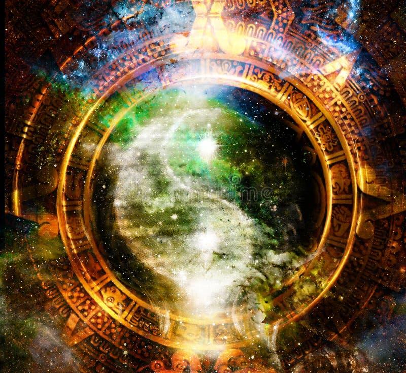 Yin Yang Symbol en calendario del maya Fondo cósmico del espacio stock de ilustración