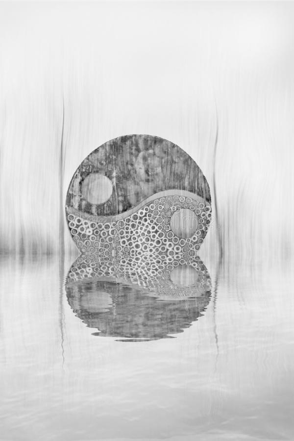 Yin-yang symbol in the forest in lake reflection. Zen, spiritual, meditayion, tao, budha, peace, relax, sikence, dark, balance, universlaw, black, white, grey stock images