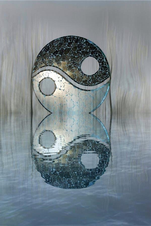 Yin-yang symbol in the forest in lake reflection. Zen, spiritual, meditayion, tao, budha, peace, relax, sikence, dark, balance, universlaw, black, white, grey royalty free stock image