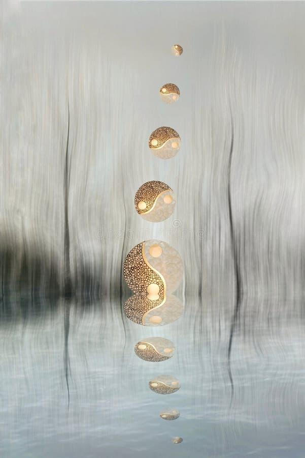 Yin-yang symbol in the forest in lake reflection. Zen, spiritual, meditayion, tao, budha, peace, relax, sikence, dark, balance, universlaw, black, white, grey stock photos