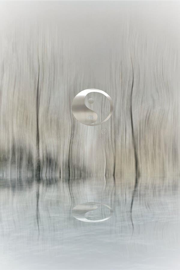 Yin-yang symbol in the forest in lake reflection. Zen, spiritual, meditayion, tao, budha, peace, relax, sikence, dark, balance, universlaw, black, white, grey stock image