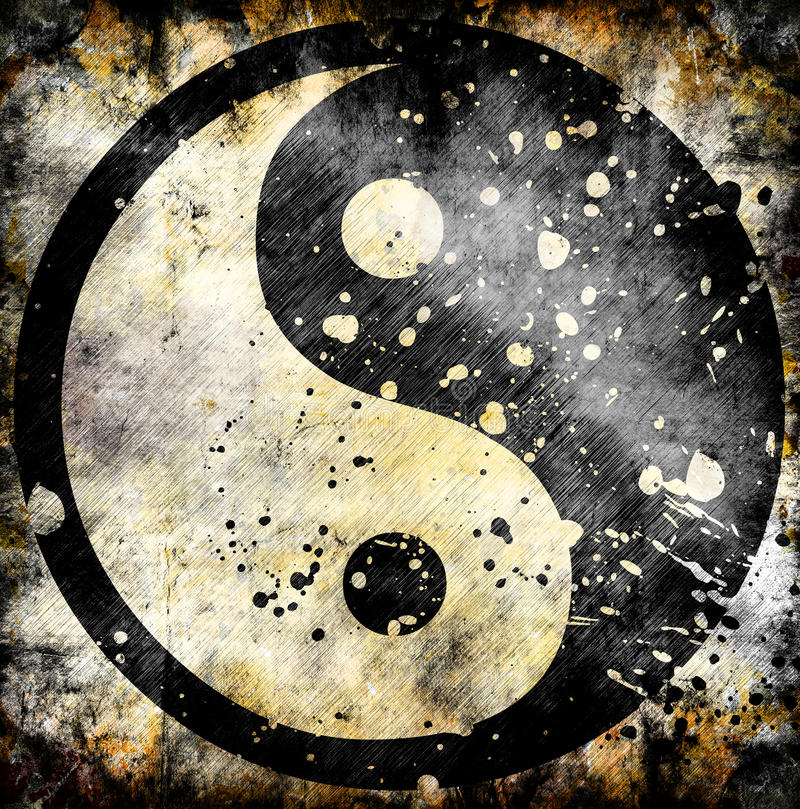 Yin yang symbol on grunge. Background with stains royalty free illustration