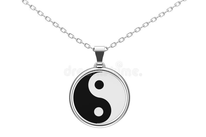 Yin Yang symbol harmonii i równowagi Srebny kulomb 3 d czynią royalty ilustracja