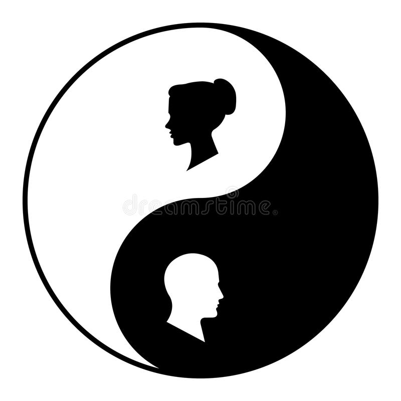 Yin Yang Symbol Of Harmony And Balance Between Male And Female Stock