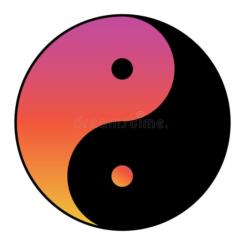 Yin yang symbol of harmony and balance with water color effect.  stock illustration