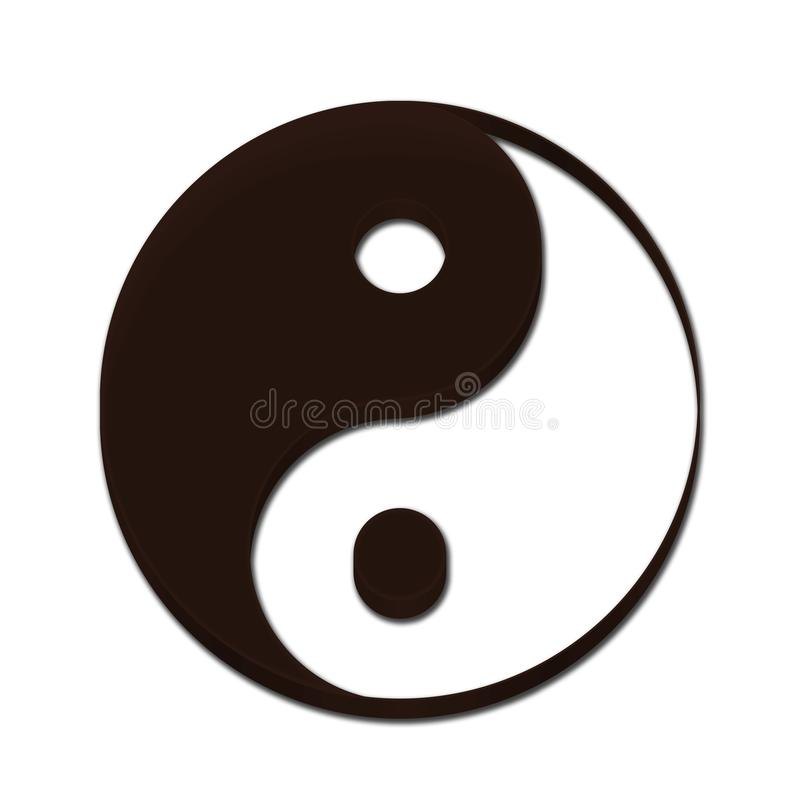 Yin Yang Symbol 3D brown Color royalty free stock photos