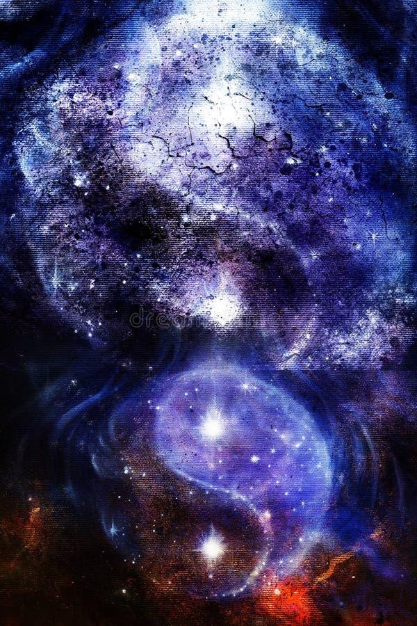 Yin Yang Symbol im Raum mit Sternen, Knisternstruktur und abstraktem Farbhintergrund lizenzfreie abbildung