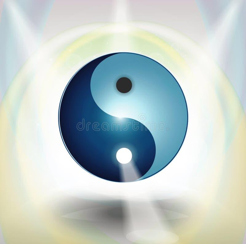 Yin Yang symbol with light rays. Yin Yang sphere symbol with glowing lights ray and light gray and yellow background royalty free illustration