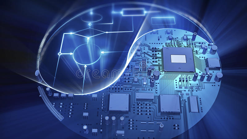 Yin-yang symbol made of mainboard and glowing electric scheme. High technology concept. 3d illustration royalty free illustration