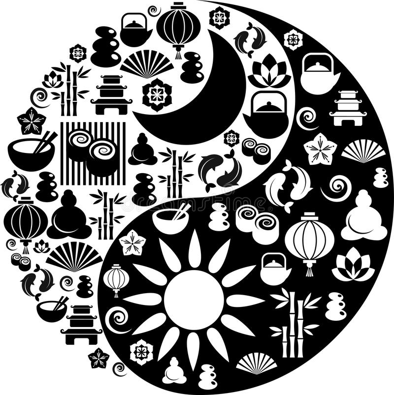 Yin Yang symbol made from Zen icons. Vector Yin-Yang with collection of Zen and oriental icons vector illustration