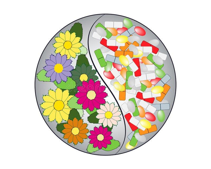 Yin yang symbol med minnestavlor, piller och blommor royaltyfri illustrationer