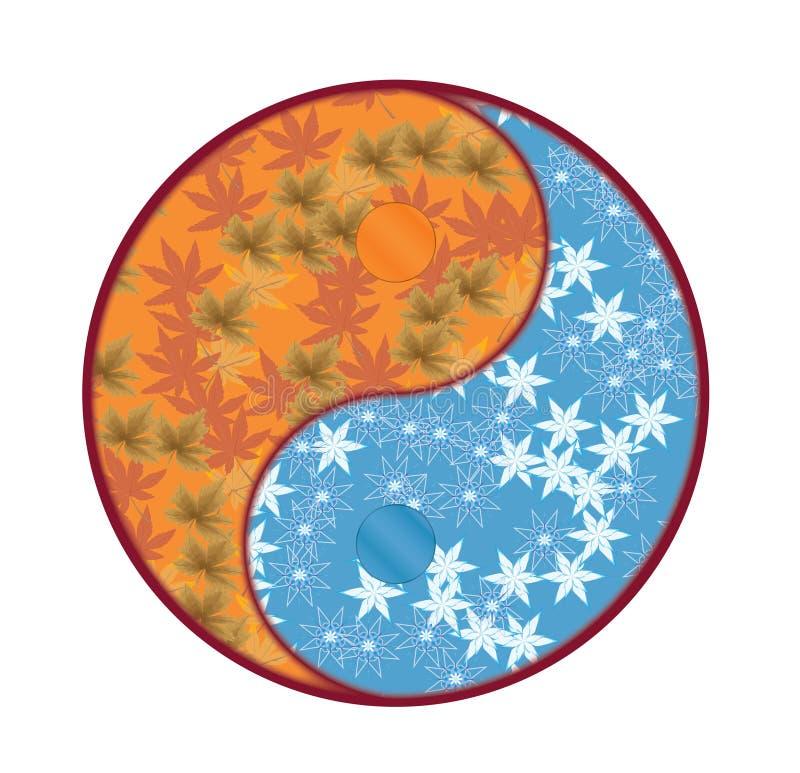 Yin Yang Symbol med nedgången och vinter royaltyfri foto