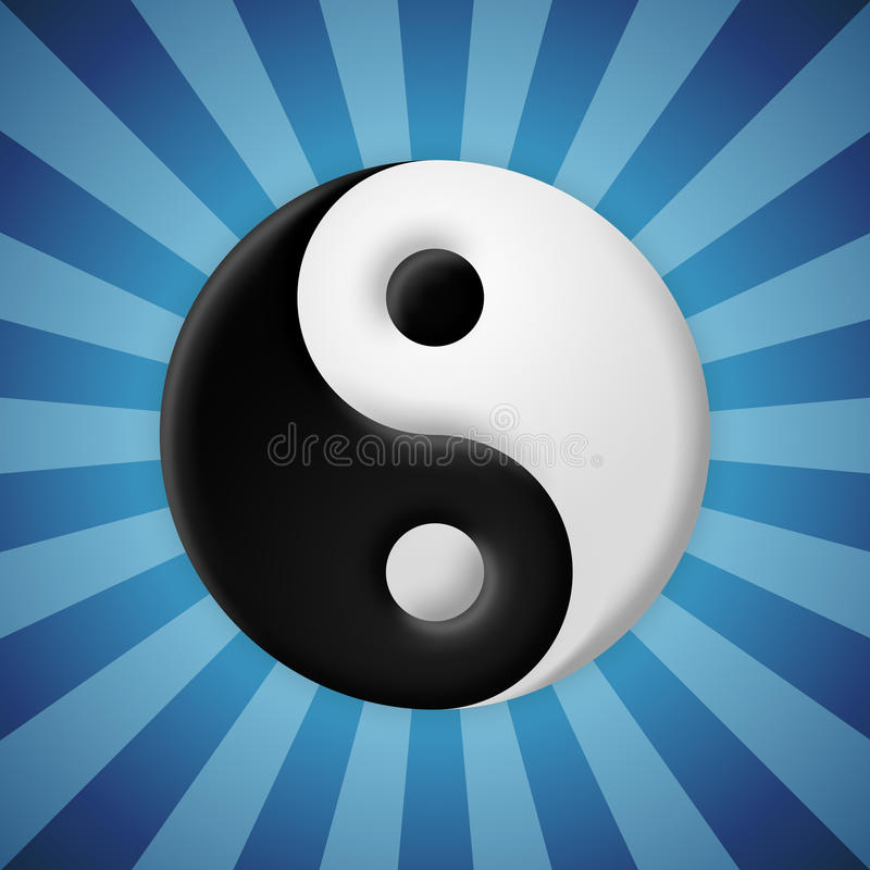 Yin Yang symbol na błękitnym promienia tle ilustracji