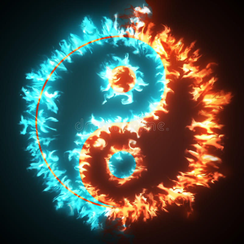 Yin and Yang. Symbol on red and blue fire. Concepts of: the bad inside the good and the good inside the bad in life; opposites, dark side, good and bad, Back stock illustration