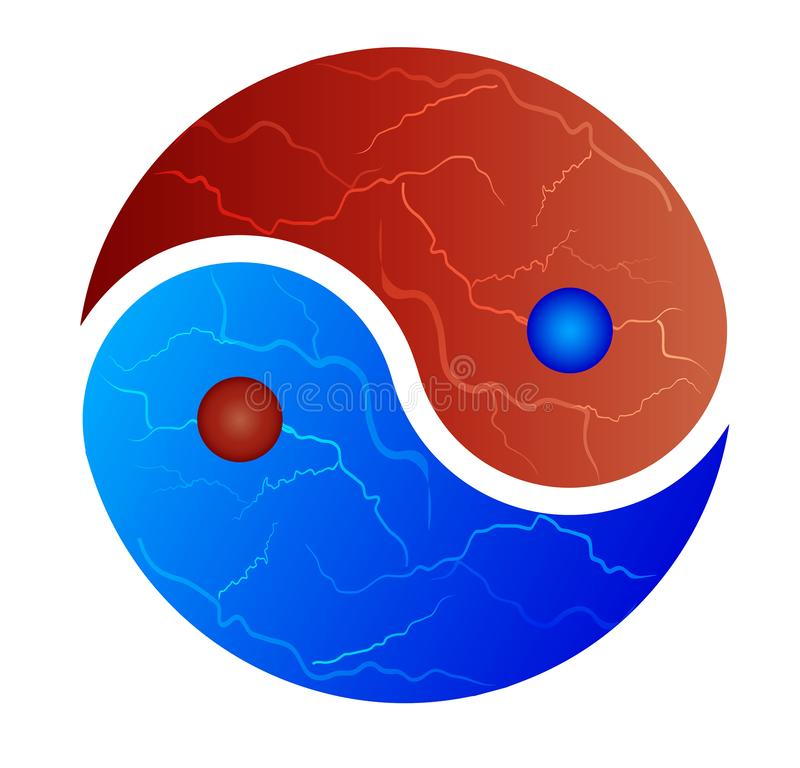 Yin-Yang symbol red and blue fire. Yin Yang symbol, ice and fire, red and blue fire, isolated on white background. Concept of opposites, dark and light, good and royalty free illustration