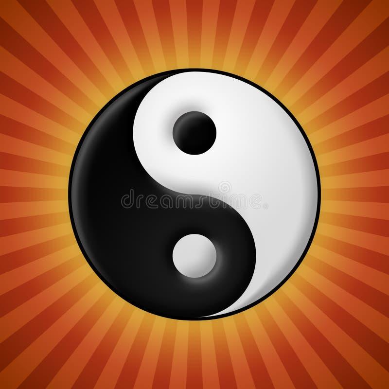 Yin yang symbol on red rays background royalty free illustration