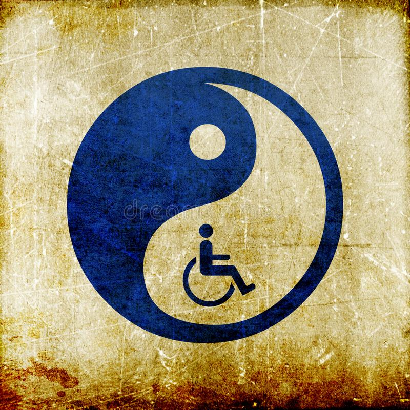 Yin yang symbol represent oriental medicine. Grunge vintage Yin yang symbol Chinese medicine represent oriental medicine royalty free illustration