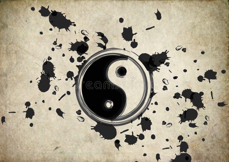 Yin yang symbol splatter on grunge background. Vintage grunge vector illustration