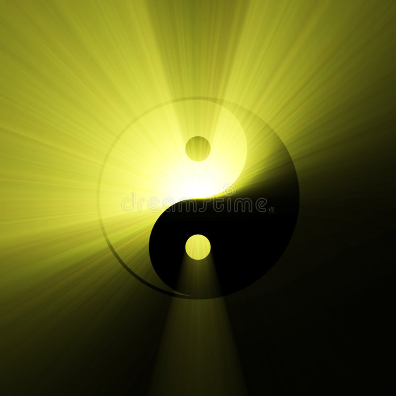 Yin Yang symbol bright light flare. Ying Yang sign with powerful sunlight halo. Light dark opposite forces. Mysterious atmosphere. Energy of universe. Balanced vector illustration