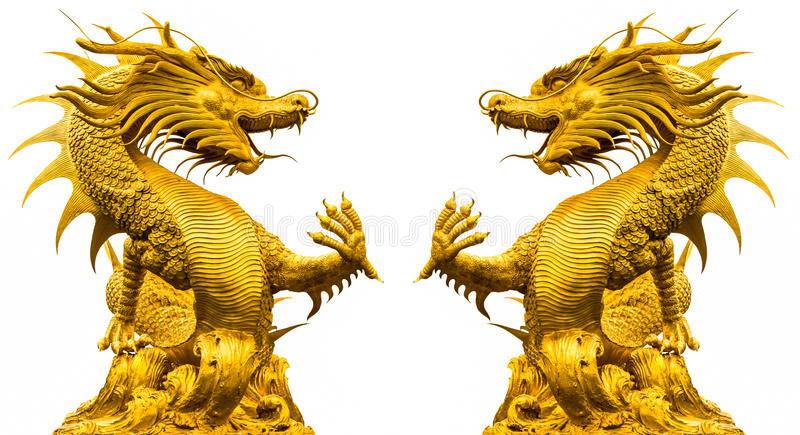 Double golden dragon statue stock images