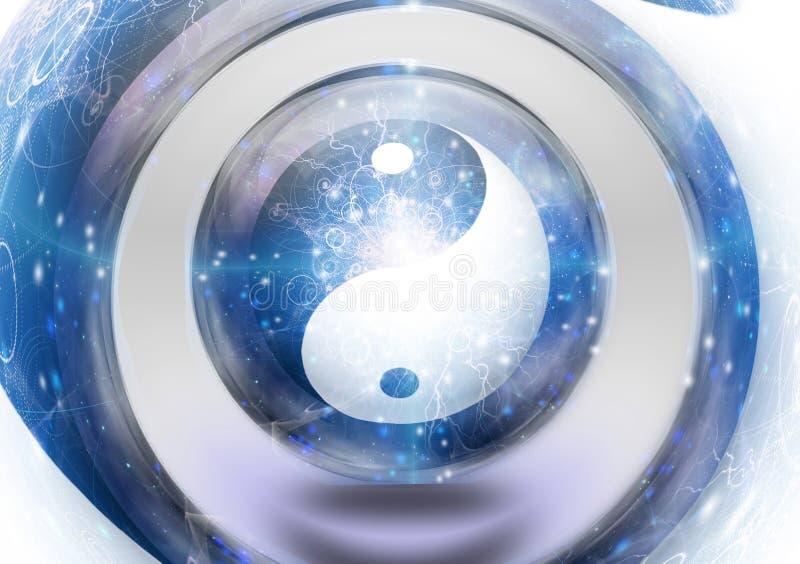 Yin Yang. Symbol in vortex vector illustration