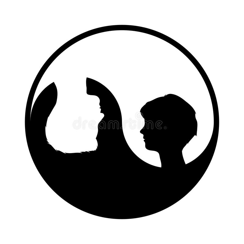 Yin yang symbol with woman and man stock illustration