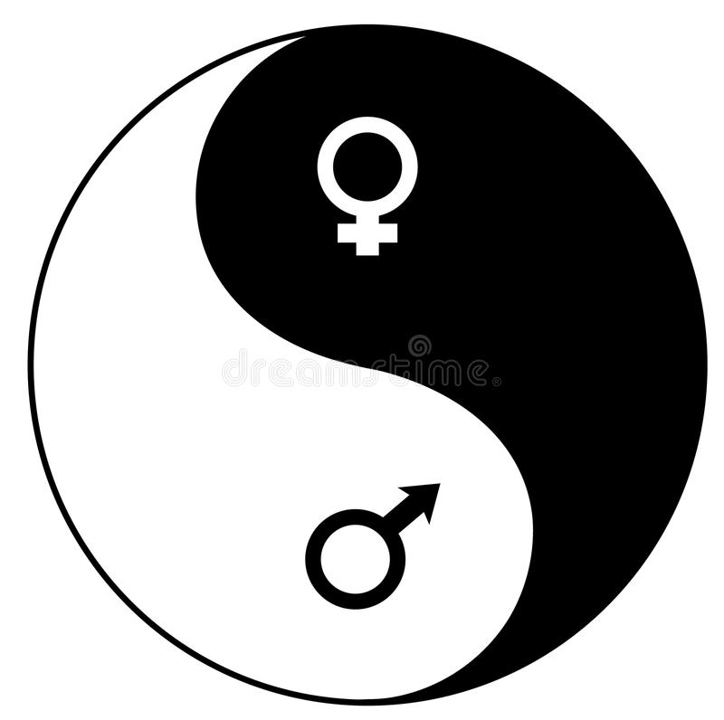 Yin-Yang symbol. Yin-Yan (YIN-YANG) symbol combined with feminine and masculine symbols of mars and venus vector illustration isolated over white background royalty free illustration
