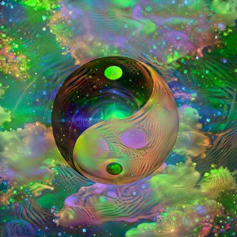Yin Yang. Symbolic painting. Yin Yang sign vector illustration