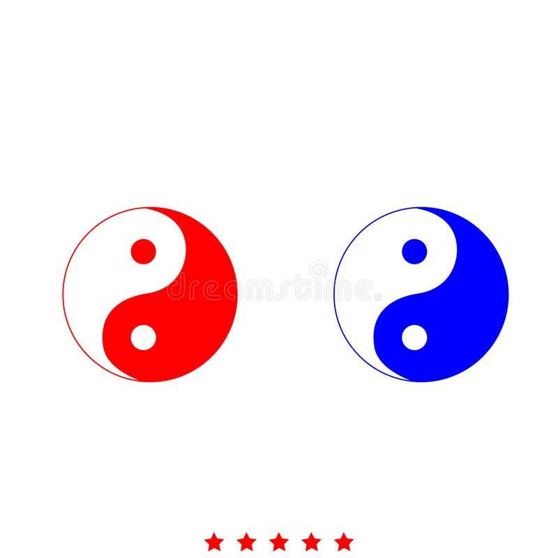 Yin Yang Symbolikone Unterschiedliche Farbe lizenzfreie abbildung