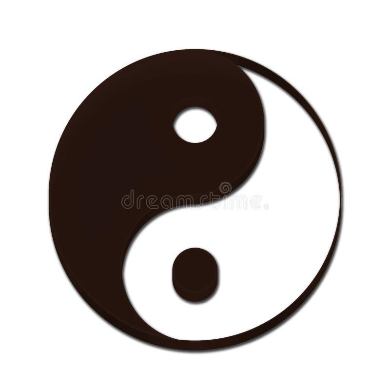 Yin Yang symbolu 3D brązu kolor ilustracja wektor
