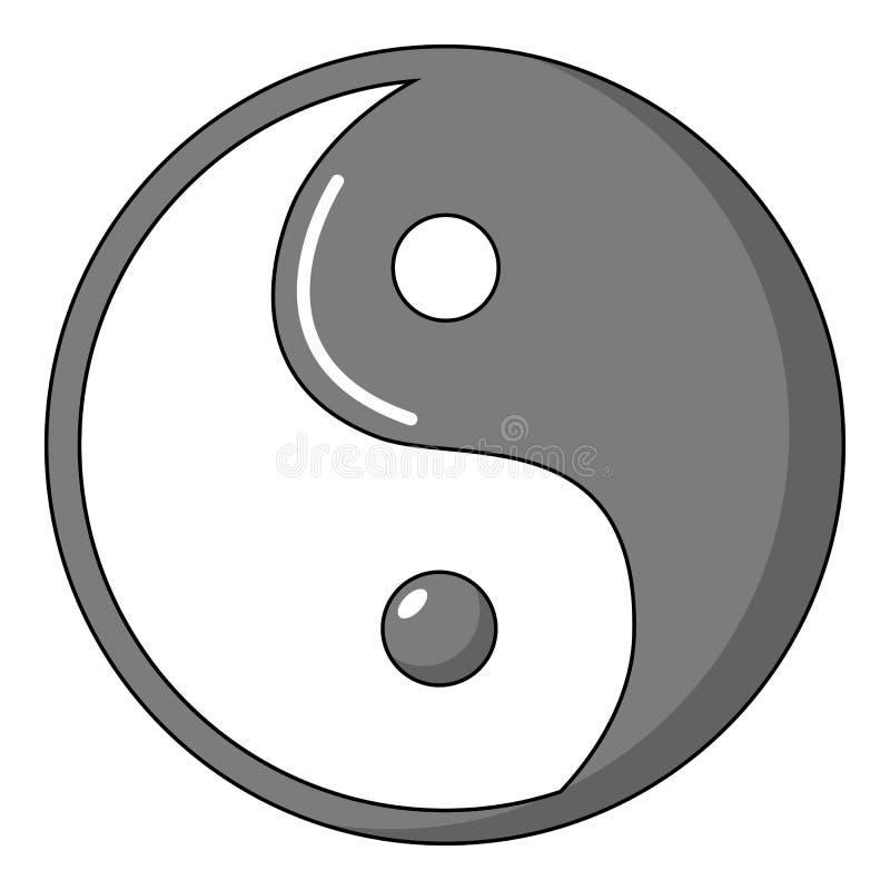 Yin Yang symbolu taoism ikona, kreskówka styl royalty ilustracja