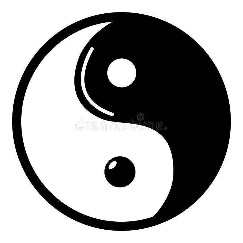 Yin Yang symbolu taoism ikona, prosty styl ilustracji