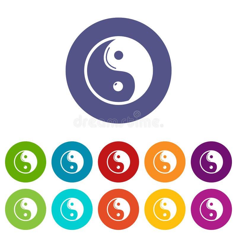 Yin Yang symbolu taoism ikony ustawiają wektorowego kolor ilustracji