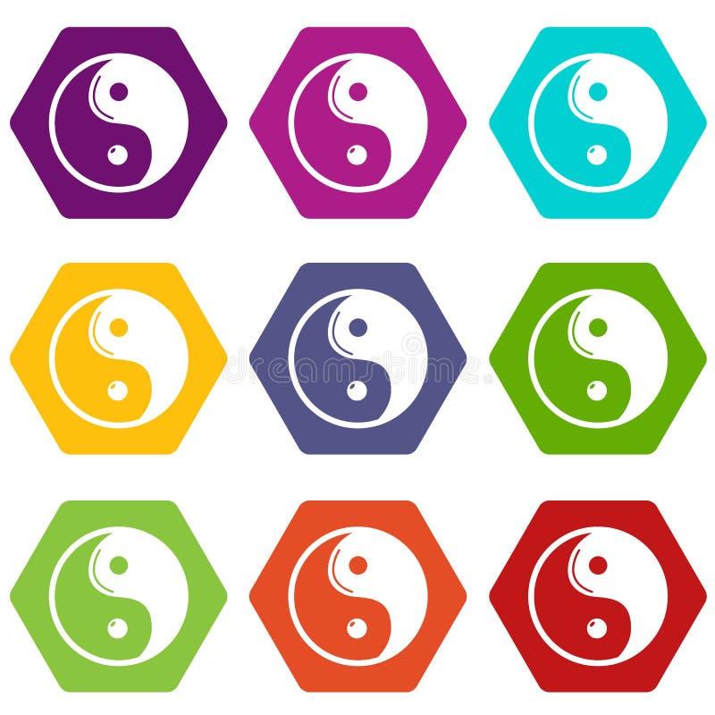 Yin Yang symbolu taoism ikony ustawiają 9 wektor royalty ilustracja