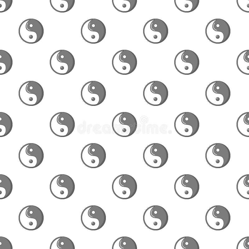 Yin Yang symbolu taoism wzór bezszwowy royalty ilustracja
