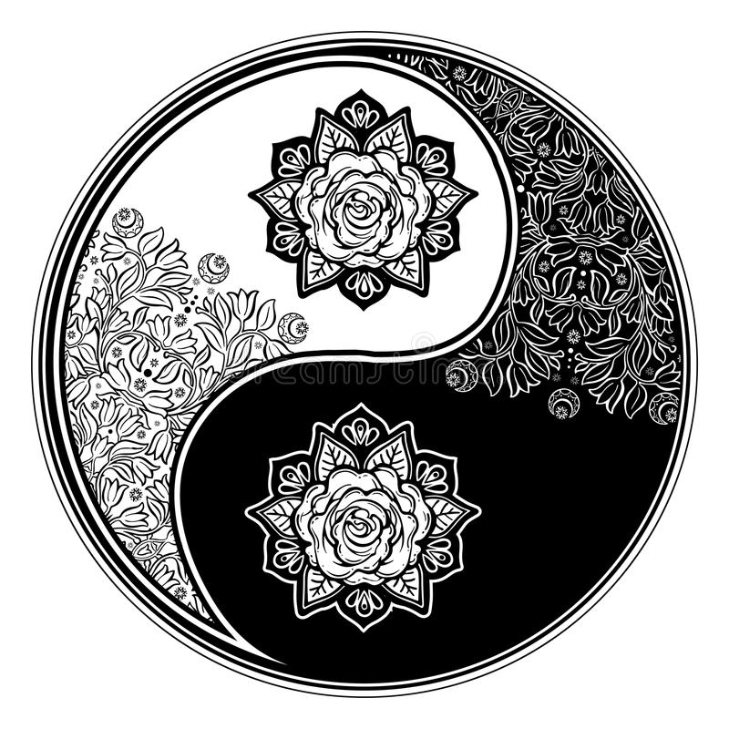 Yin and Yang Tao floral decorative symbol. Yin and Yang Tao zen floral round decorative element. Meditation ornament with rose. Vector isolated illustration royalty free illustration