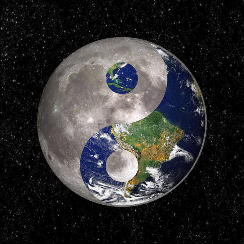 Yin Yang and tao symbol with earth and moon. Elements of this image are provided by NASA royalty free illustration