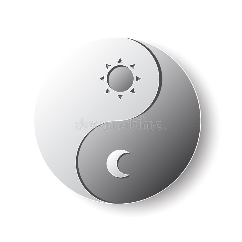 Yin-Yang Taoism symbol paper cutting art vector illustration