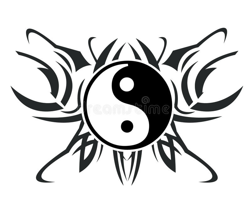 yin yang tattoo иллюстрация вектора