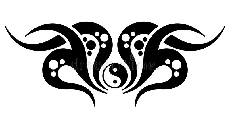 Yin yang tattoo. Tribal tattoo design with yin yang symbol isolated on white background royalty free illustration