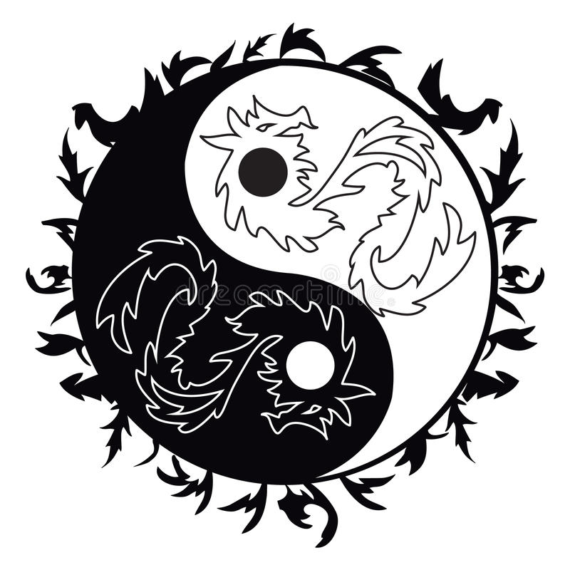 yin yang tattoo with dragons stock vector illustration of hand rh dreamstime com What Color Is for Yin Yang and Yin China Unique Yin and Yang Art