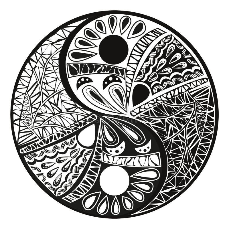 Yin Yang tatuering för designsymbolillustration stock illustrationer