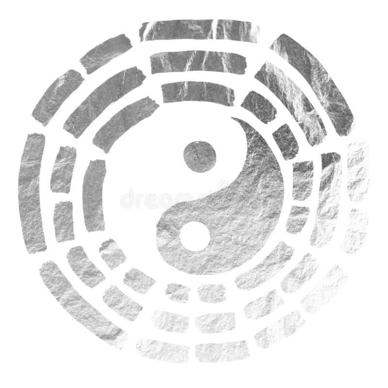Yin Yang tekstura srebro ilustracja wektor