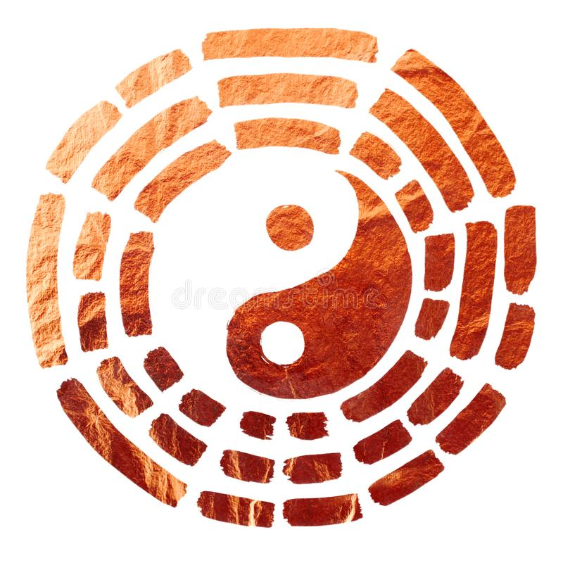 Yin Yang texture of copper. The image can be used as an additional element of postcard design for the Chinese New Year 2018, as well as printing on T-shirts stock illustration