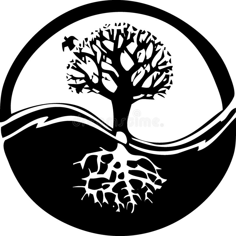 Yin yang tree. Peaceful tree in black and white
