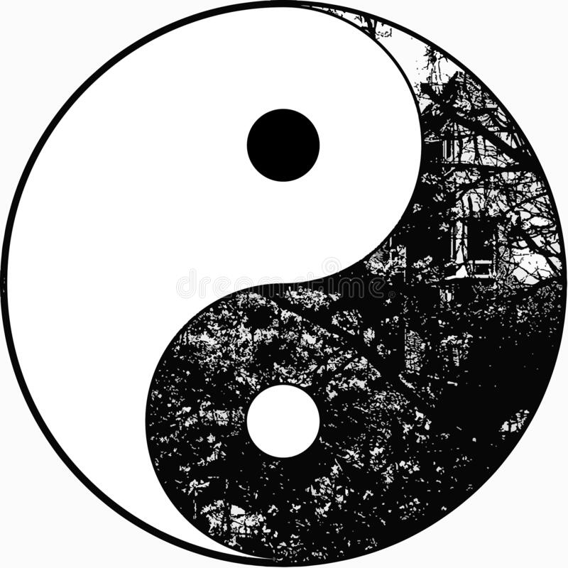 Yin yang tree in black and white stock photo