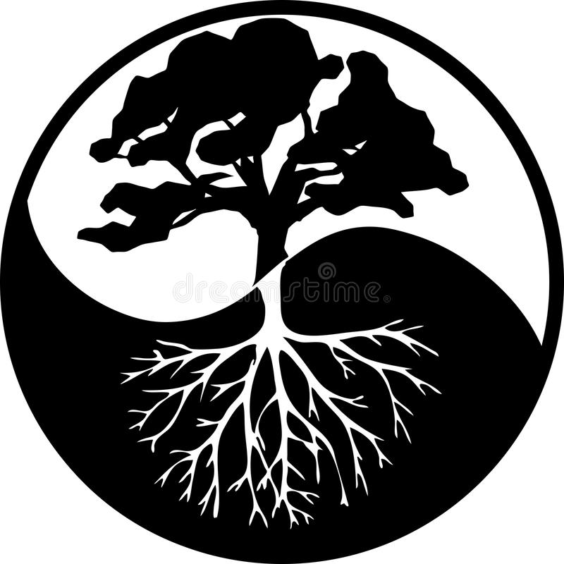 Yin yang tree. In contrast black and white Peaceful tree in black and white Peaceful tree in black and white with roots  in contrast black and white opposite vector illustration