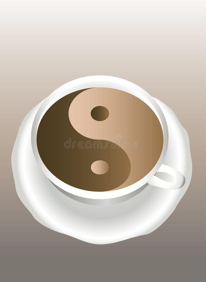 Yin Yang. Una tazza di caffè. illustrazione di stock